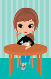 Pretty girl drinks coffee Stock Images