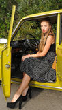 Pretty girl on driver seat Royalty Free Stock Images
