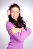 Pretty girl with earmuff Royalty Free Stock Photography
