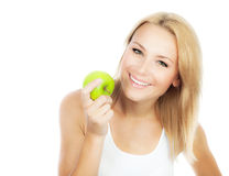 Pretty girl eating apple Royalty Free Stock Photos