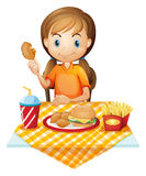 A pretty girl eating at the fastfood restaurant. Illustration of a pretty girl eating at the fastfood restaurant on a white background Royalty Free Stock Photos