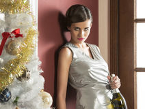Pretty girl in elegant christmas party Stock Image