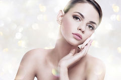 Pretty girl enjoy a flawless skin, skin care concept Royalty Free Stock Image