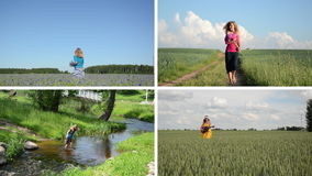 Pretty girl enjoy summer leisure in nature. Video collection. stock video