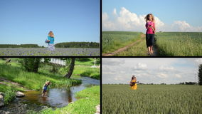 Pretty girl enjoy summer leisure. Video clips collection. stock footage