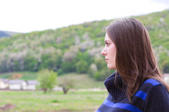 Pretty girl enjoying countryside view Stock Photography