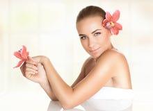 Pretty girl enjoying day spa Stock Photo