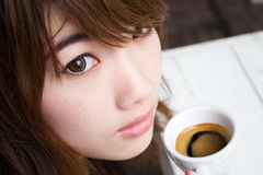 Pretty girl with espresso coffee01. Thai pretty girl have cup of espresso coffee Stock Photography