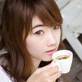 Pretty girl with espresso coffee02 Stock Photography