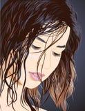 Pretty girl face vector illustration