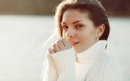 Pretty girl face - closeup - outdoors portrait Stock Photos