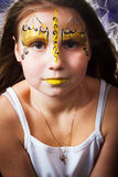 Pretty girl with face painting on black background Stock Photos