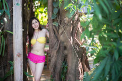 Pretty girl in fancy bikni around pool side Royalty Free Stock Photography