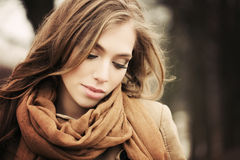 Pretty Girl Fashion Model Outdoors. Autumn Royalty Free Stock Photography