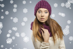 Pretty girl with fashion winter clothes Stock Photography