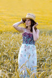 Pretty girl in a field Stock Photography