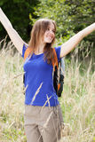 Pretty girl on field of wheat Stock Photography