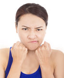 Pretty girl fist angrily and facial expression Royalty Free Stock Images
