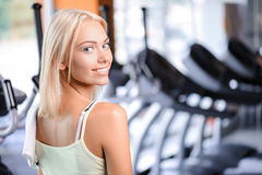Pretty girl during fitness class Royalty Free Stock Images