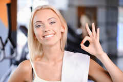 Pretty girl during fitness class Royalty Free Stock Photography