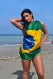 Pretty girl with flag. Stock Photos