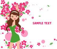 Pretty girl and flower. Illustration of pretty girl and flower Stock Photo