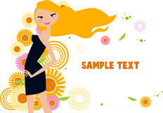Pretty girl and flower. Illustration of pretty girl and flower Stock Photography