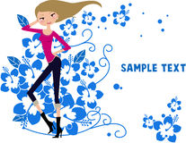 Pretty girl and flower. Illustration of pretty girl and flower Stock Image