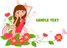 Pretty girl and flower. Illustration of pretty girl and flower Royalty Free Stock Images