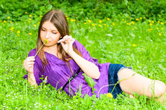 Pretty girl with flower Stock Image