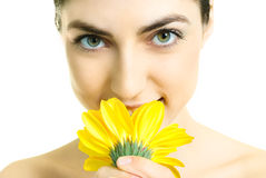 Pretty girl with a flower Stock Photography