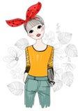Pretty girl. And flower,cartoon art Stock Photos