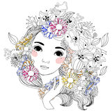 Pretty girl and flower Royalty Free Stock Photo
