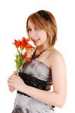 Pretty girl with flowers. Royalty Free Stock Photos