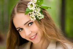 Pretty girl with flowers close up Royalty Free Stock Photography