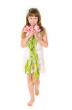 Pretty girl with flowers for mom Stock Photo