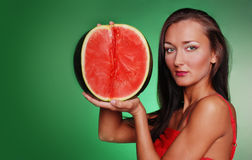 Pretty girl with fruit Royalty Free Stock Images