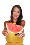Pretty girl with fruit Royalty Free Stock Image