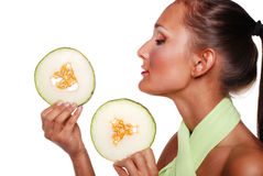 Pretty girl with fruit Royalty Free Stock Photo