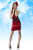 Pretty girl in full-lenght with red dress and hand Royalty Free Stock Images
