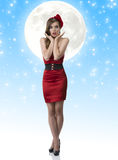 Pretty girl in full-lenght with red dress and suro Royalty Free Stock Image