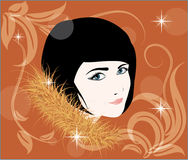 Pretty girl in the fur. Drawing pretty girl in the fur Royalty Free Stock Images