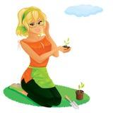 Pretty girl gardening. Illustration of pretty girl gardening Stock Photography