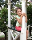 Pretty girl in gazebo Stock Images