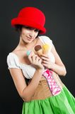 Pretty girl in german style with ice cream Stock Photography