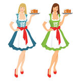 Pretty girl in german traditional dress. Vector illustration of pretty girl in german traditional dress with beer  on white background Stock Photo
