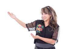 Pretty girl gesturing with hands a presentation Stock Image