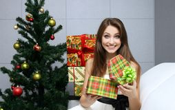 Pretty girl with gift Stock Photo