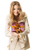 Pretty girl with a gift box Royalty Free Stock Photos