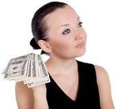 Pretty girl giving money isolated Stock Image